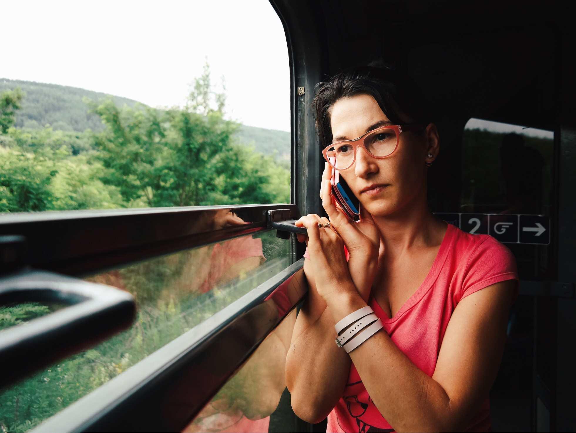 Woman having stressful conversation on phone
