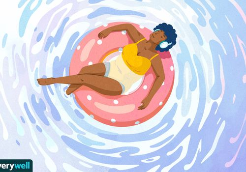 drawing of woman sitting in inner tube listening to music