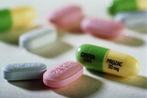 Prozac, Paxil and Zoloft anti-depressant tablets, close-up