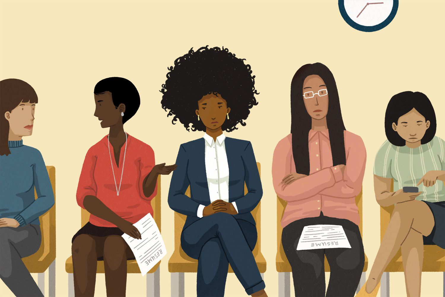 drawing of women waiting in an office lobby with resumes