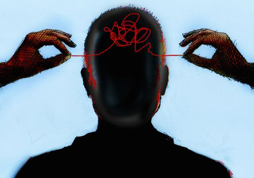 Illustration of hands untangling thread from inside of mans head