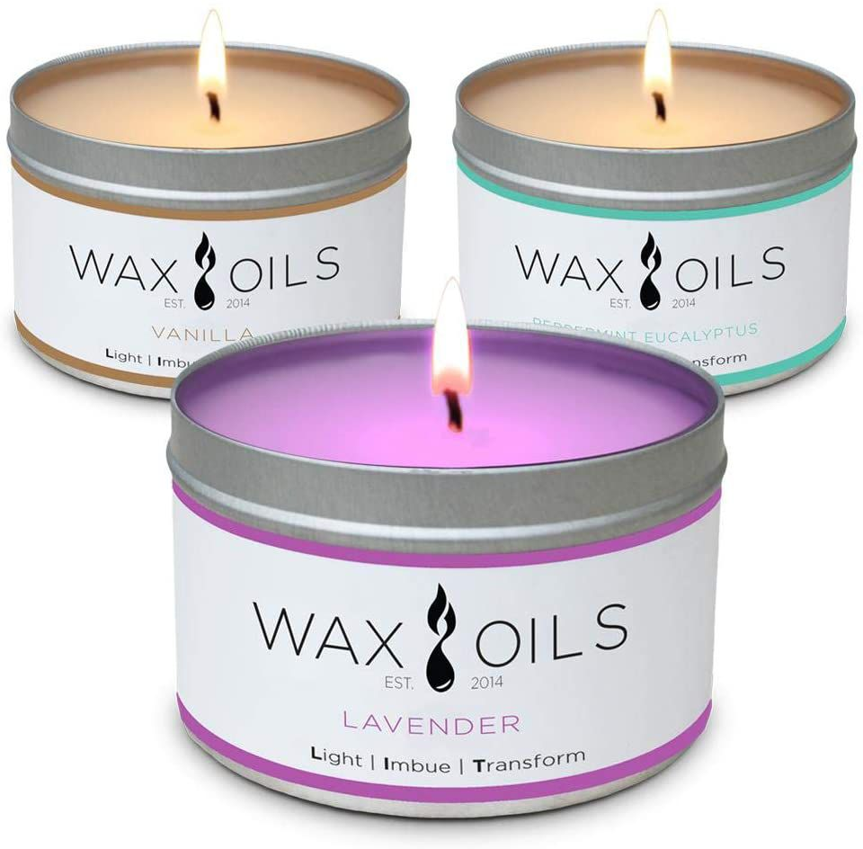Wax and Oils Soy Wax Aromatherapy Scented Candles, Lavender, Vanilla & Peppermint Eucalyptus