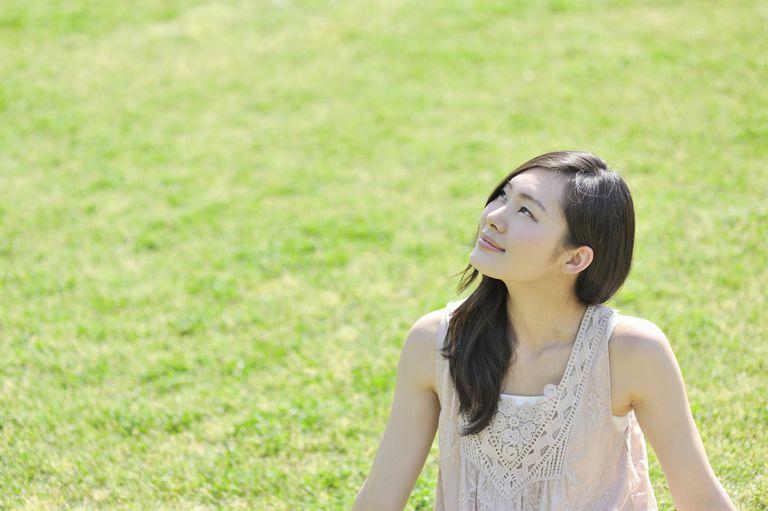 optimism smiling in park