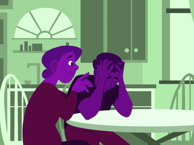 A person sitting at their kitchen table, hands on their head, looking distressed and upset. A family member should have their hands on the distressed person's shoulder, looking concerned