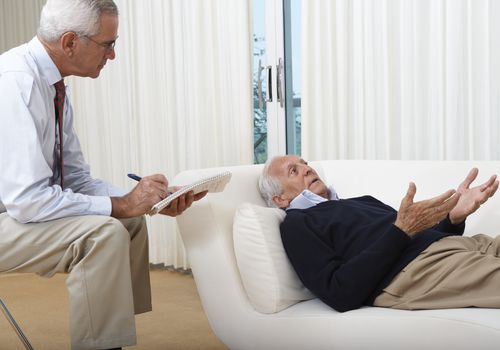 Psychiatrist Treating Senior Man