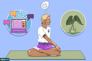 drawing of person doing a seated twist on a yoga mat wearing purple shorts