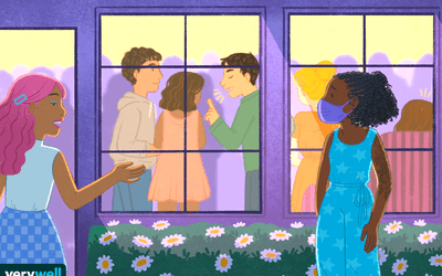 illustration of a woman outside a party