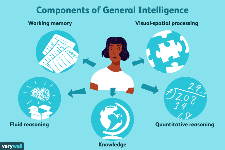 illustration of woman in the middle of components of general intelligence