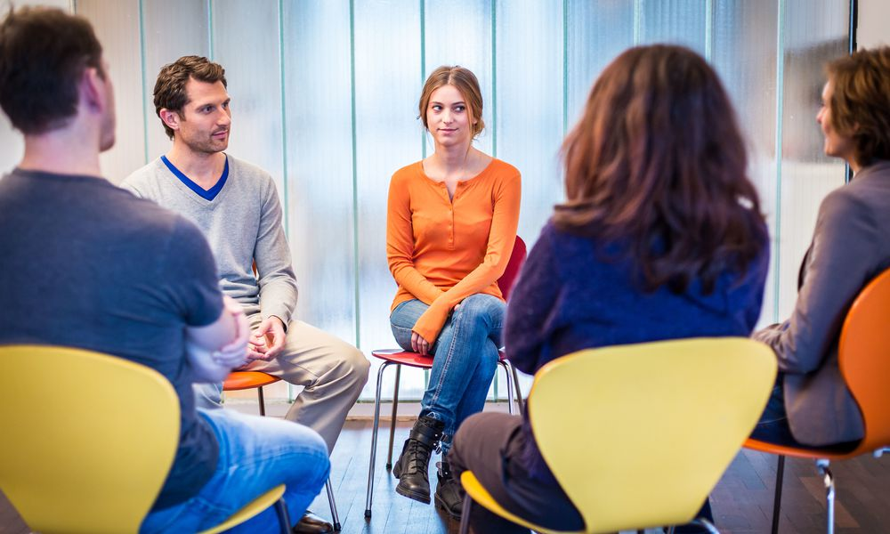 Group therapy is often part of treatment in a psychiatric hospital.