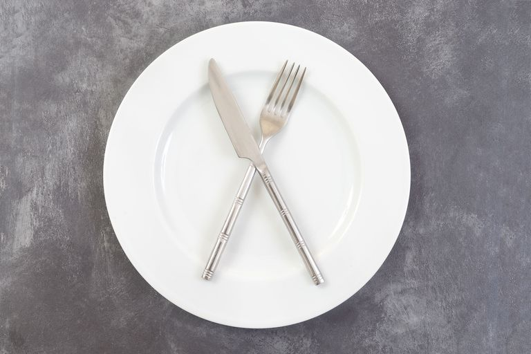 Empty plate with knife and fork on it