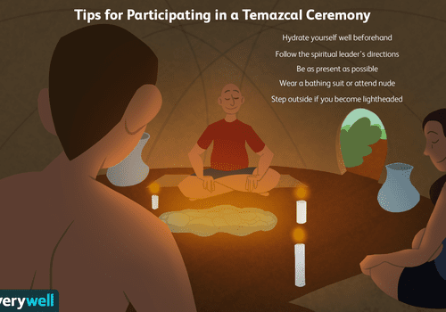 A group of people participating in a temazcal sweat lodge ceremony