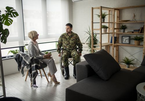 soldier and his psychotherapist during a session