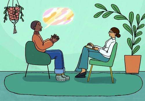 What clients talk about in therapy. Client and therapist in a session.