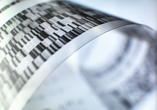 Close up of autoradiograph used in researching genetics