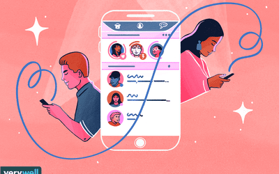 drawing of people using a dating app