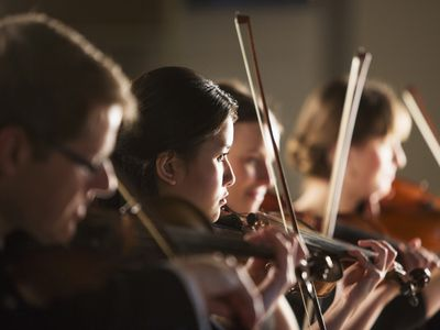 Violinists performing