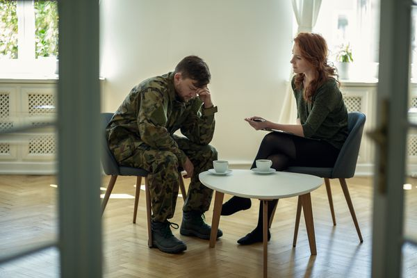Veteran speaking to therapist