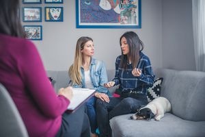 Couple on doing Imago relationship therapy with a therapist