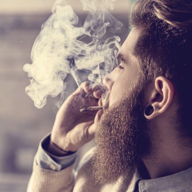 Model poses as a marijuana smoker