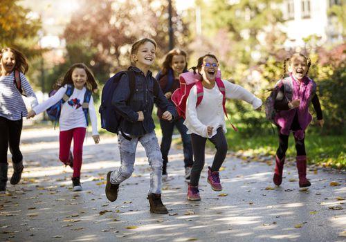 Children running out to recess.