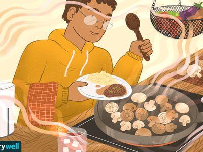 drawing of man cooking mushrooms