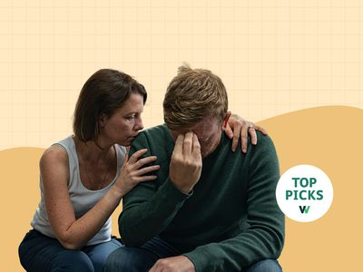 Photo composite of a woman consoling a man