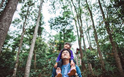 Man with young girl on his shoulder both admiring the forest surrounding them
