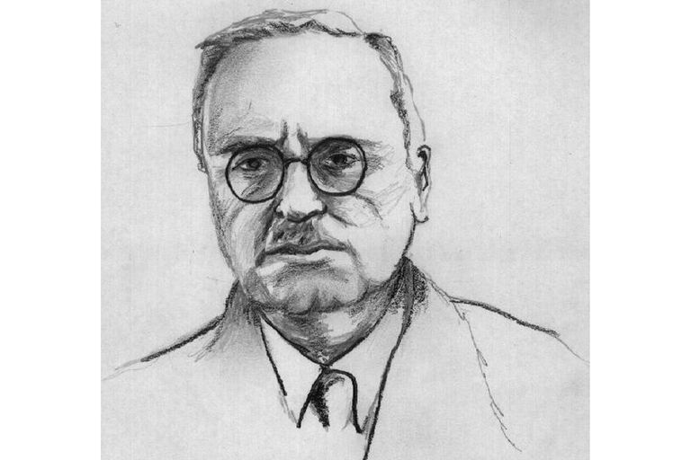 Drawn portrait of Alfred Adler