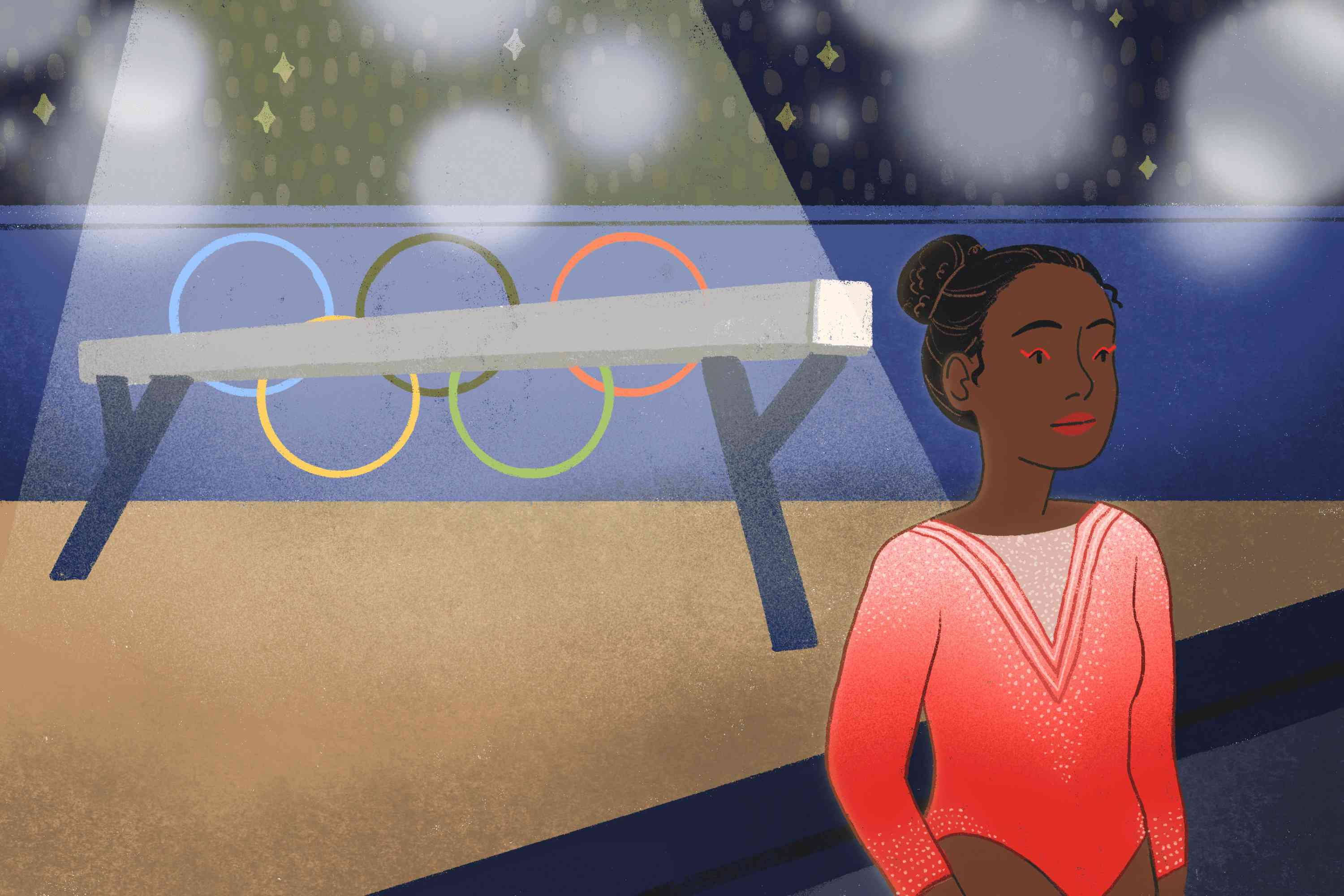 drawing of Simone Biles walking off the mat at the olympics