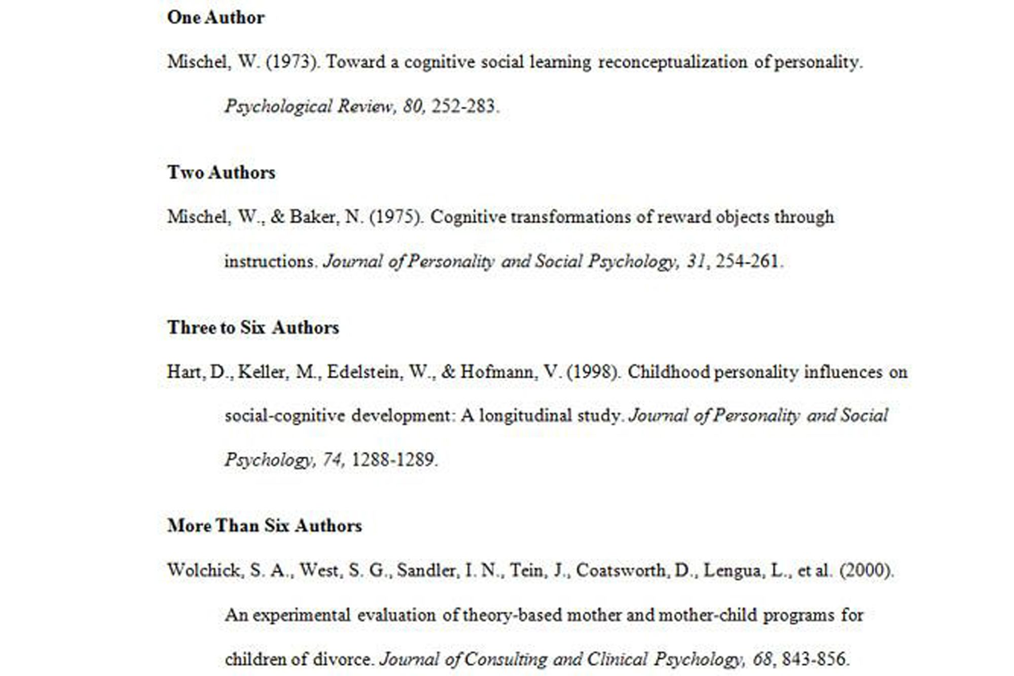 an examples of authors in apa format