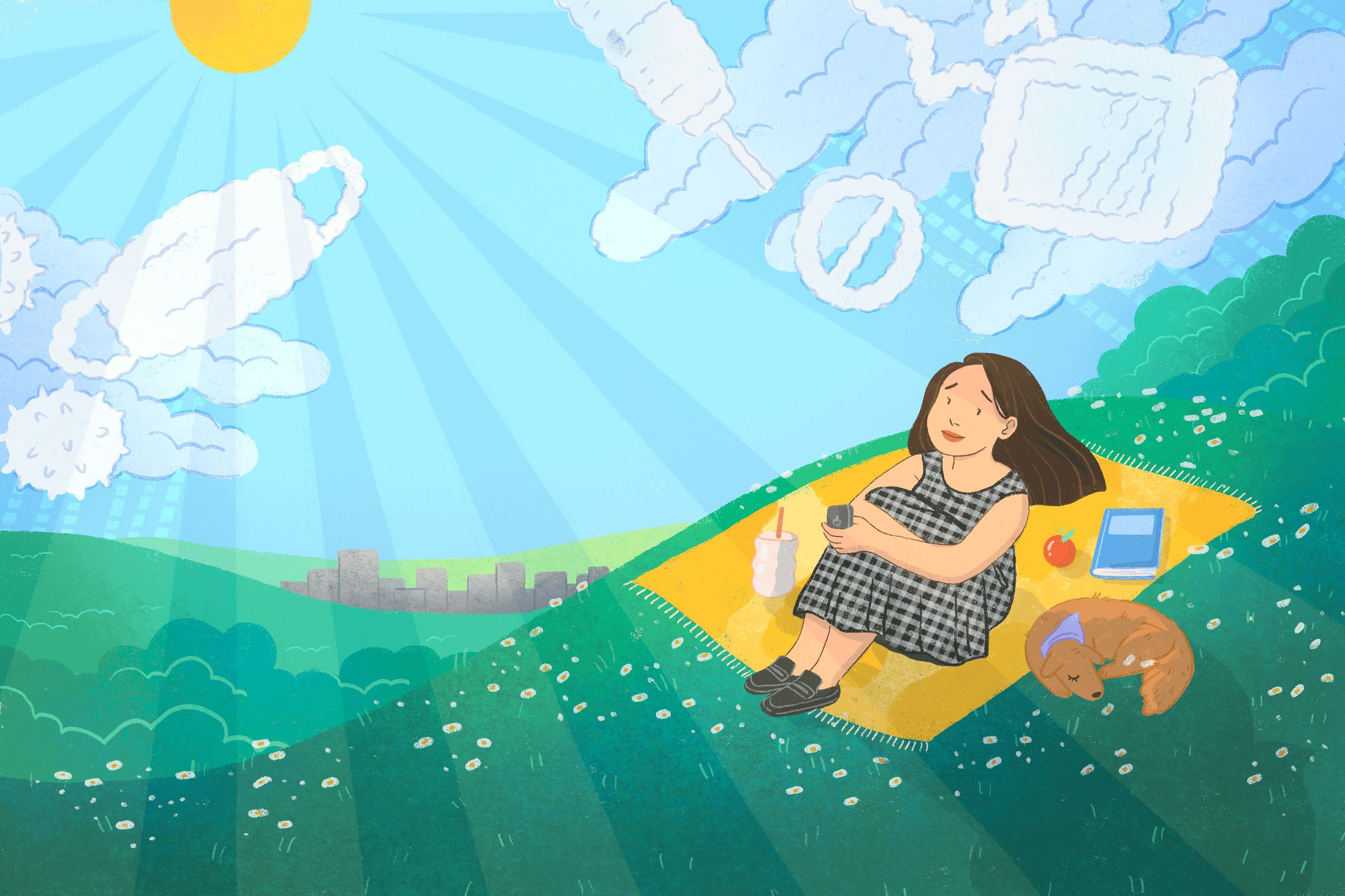 woman sitting outside in the sun