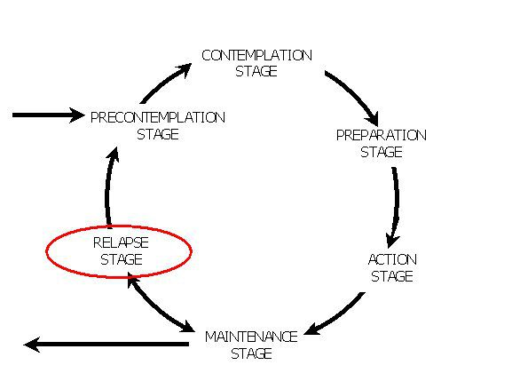 Diagram showing the relapse stage in the model