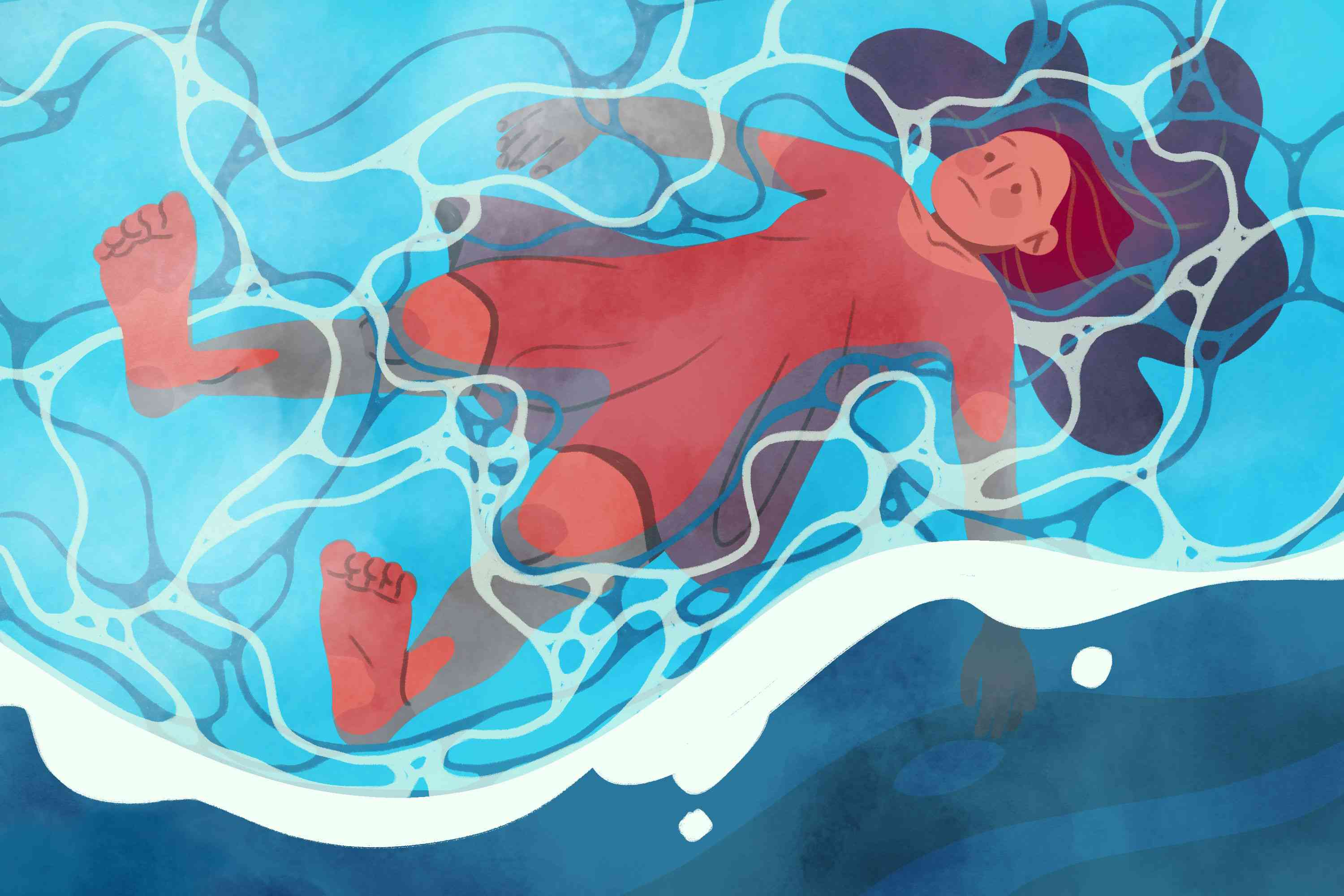 Person lying in a pool of water