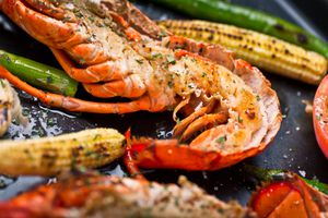 Grilled lobster with corn and asparagus