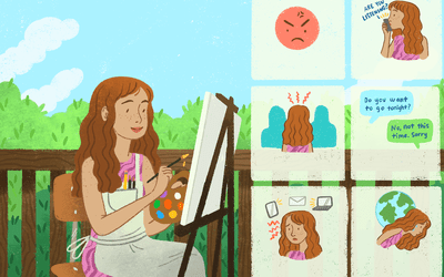 Woman painting alone on an easel outdoors