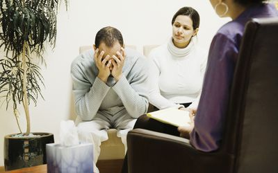 Multi-ethnic couple at therapy session