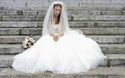 Bride worried at her wedding