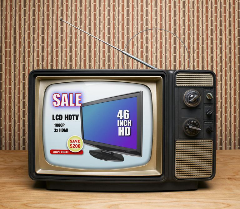 Old TV with HDTV Advertisement