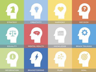 Head Thinking Icons Set