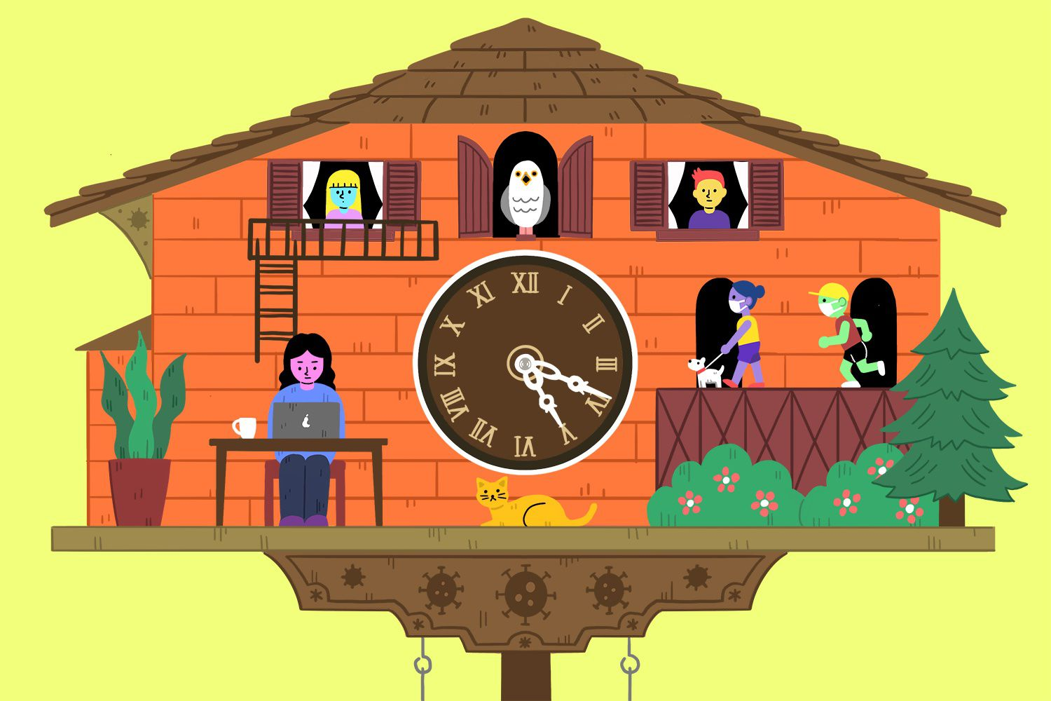 drawing of cuckoo clock with characters around it