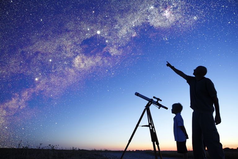 Man showing milky way to little boy, telescope