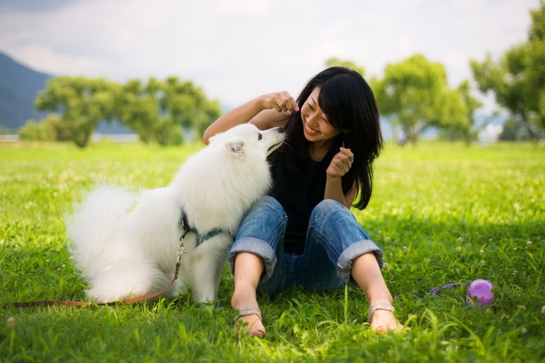 Woman playing with her dog in the grass