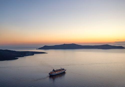 Cruise ship at sunset