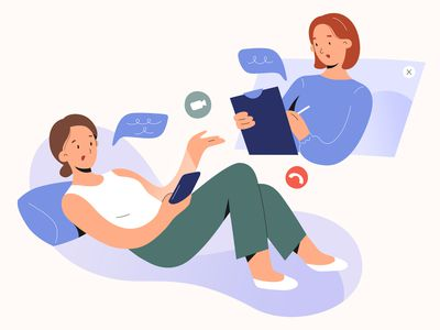 illustration of person doing online therapy