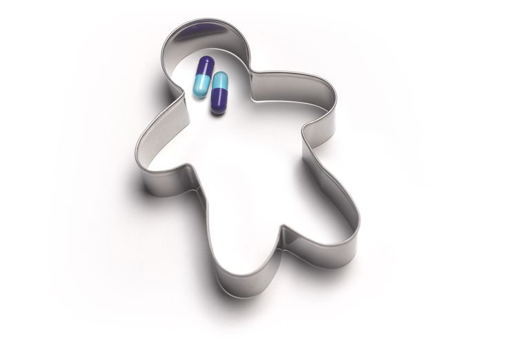 Antidepressant pills in cookie cutter