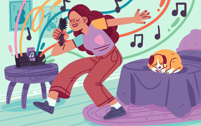 illustration of girls singing and dancing to music