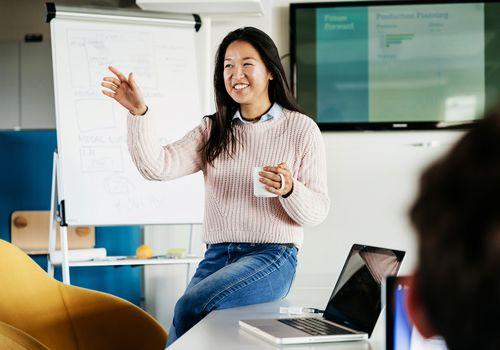 Woman giving presentation