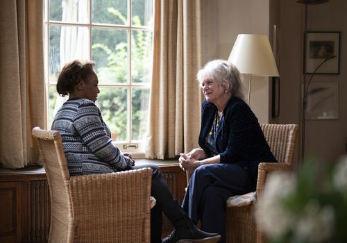 Two women talking at counseling session