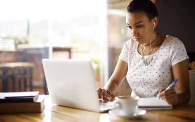 Woman watching online video