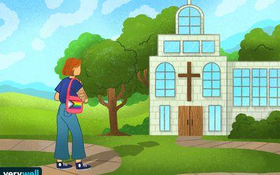 drawing of an LGBTQ+ woman approaching a church